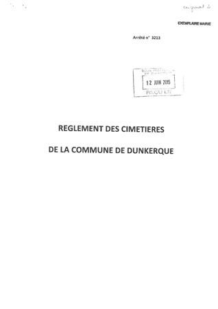 Le réglement des cimetières de Dunkerque...