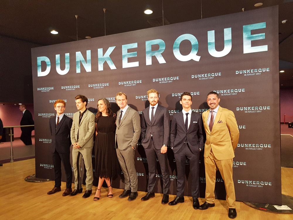 """Christopher Nolan, Emma Thomas et les principaux acteurs de """"Dunkerque"""", à l'avant-première..."""