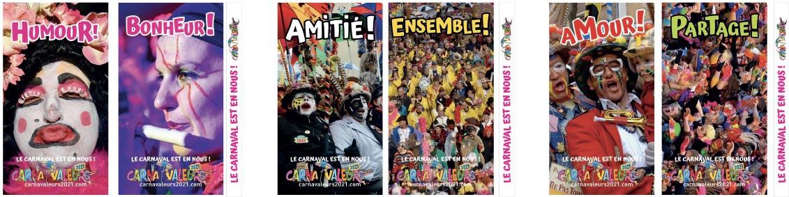 Quelques totems portant les valeurs du Carnaval...