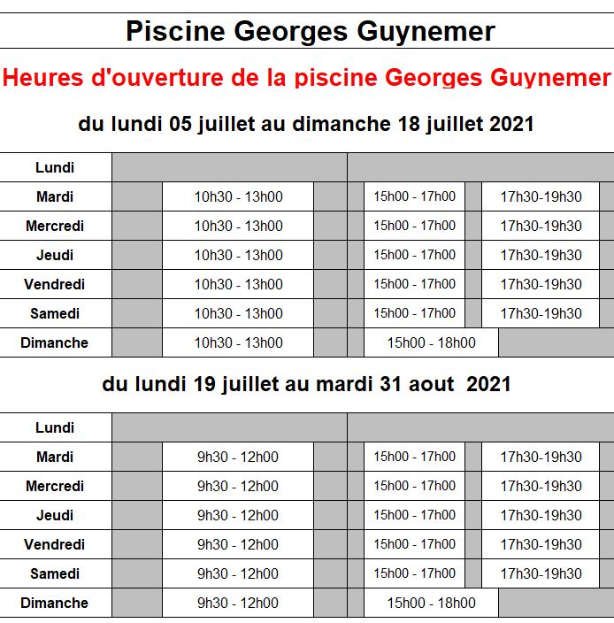 Horaires d'ouverture piscine Georges Guynemer