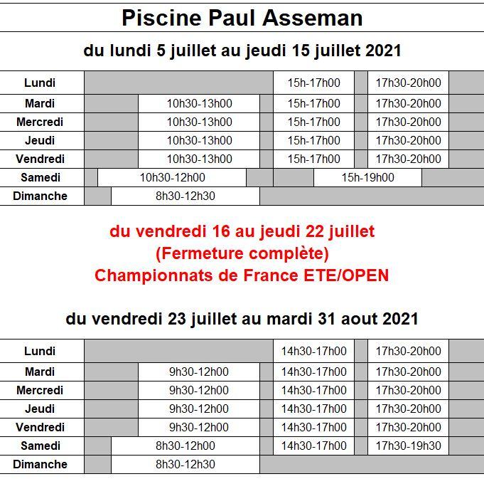 Horaires d'ouverture piscine Paul Asseman